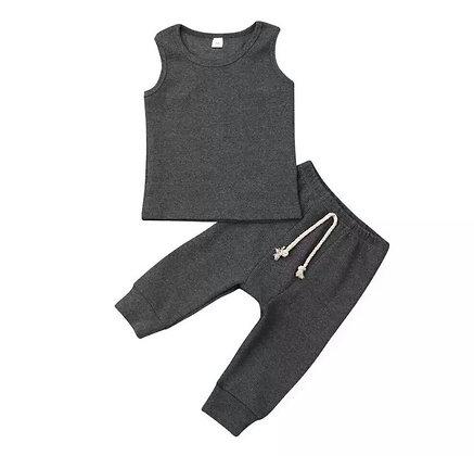 Grey Ribbed Vest Set