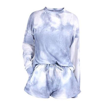 Ladies Grey Tie Dye Shorts Lounge Set