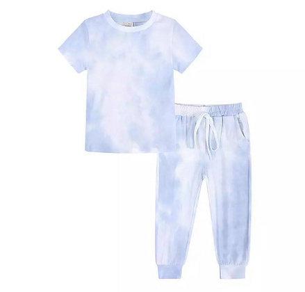 Light Blue Tie Dye Trouser Set