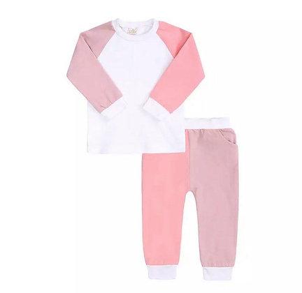 Kids Tales Pink Contrast Lounge Set