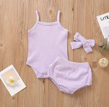 Lilac Ribbed 3 Piece Set