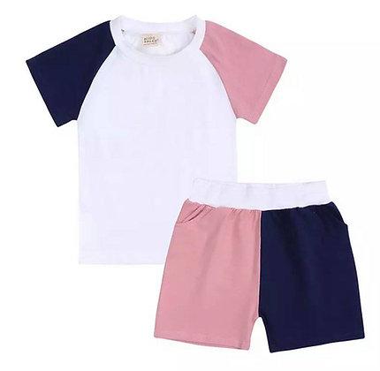 Kids Tales Pink & Blue Shorts Set