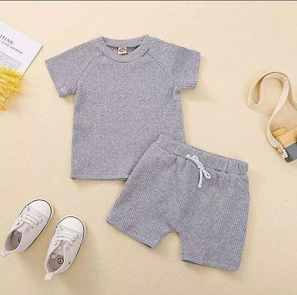 Grey Ribbed Short Set