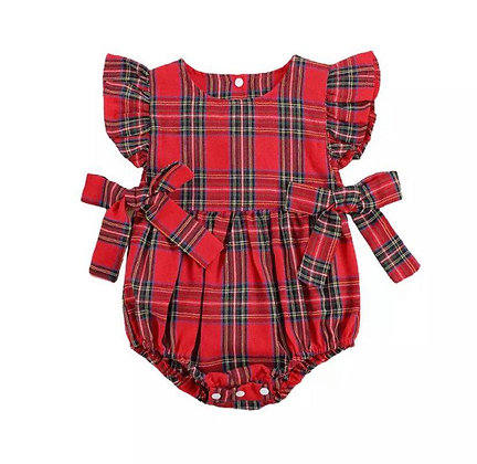 Girl Tartan Romper with Bows