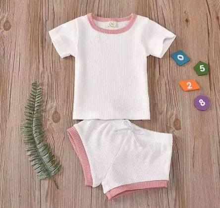 White/Pink Shorts and T-Shirt Set