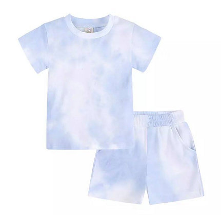 Blue Tie Dye Short Set