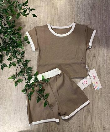 Brown/White Trim Short Set