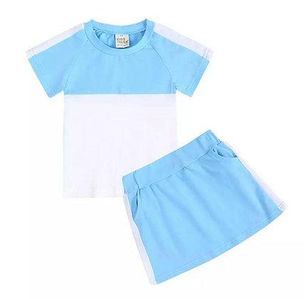 Light Blue Skirt Set