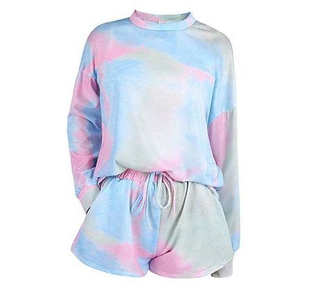 Ladies Pastel Tie Dye Shorts Lounge Set