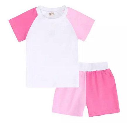 Kids Tales Bright Pink Contrast Shorts Set