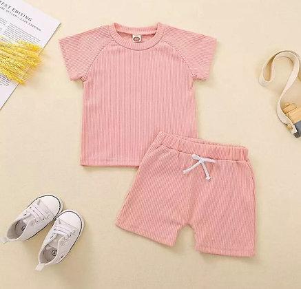 Pink Ribbed Short Set