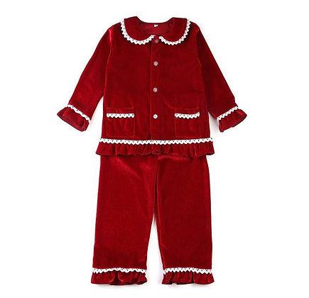 PRE-ORDER-Girls Red Velour Pyjama-DUE NOVEMBER