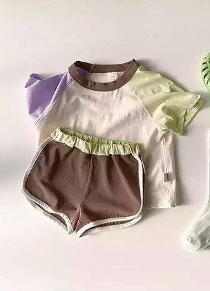 Brown Multi Coloured Short Set