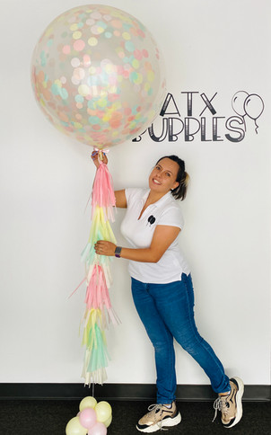 3ft Confetti latex balloon With tassels