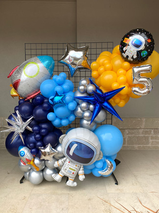 Balloon Installation in a Grid wall