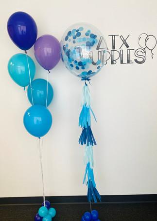 Bubble balloon with tassels + balloon bu