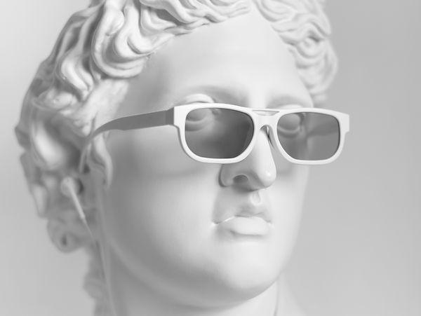 Gypsum statue of Apollo's head. Man. Sta