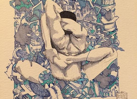 Yoga man detail blue
