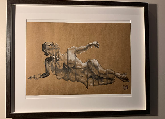 Life drawing deconstructed laying down woman