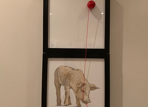 Double piglet and balloon