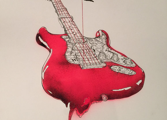 Guitar Large Red spray