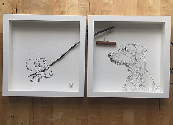 Double framed Dog & Sticking