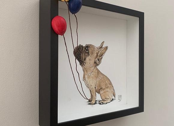 Three balloons and pup