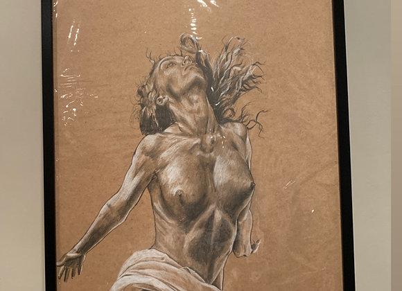 Large nude on wood