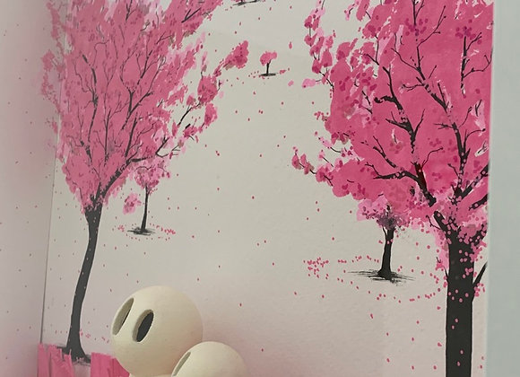 Pink blossom and grass