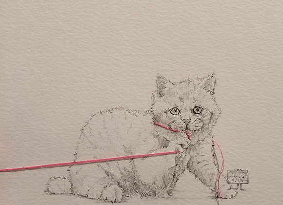 Cat Double Pink String