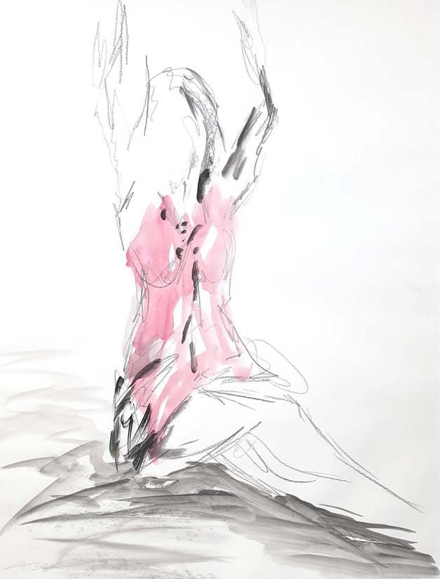 01 - 2018 - Tanz auf Papier - Mischtechnik - 50 x 63 cm