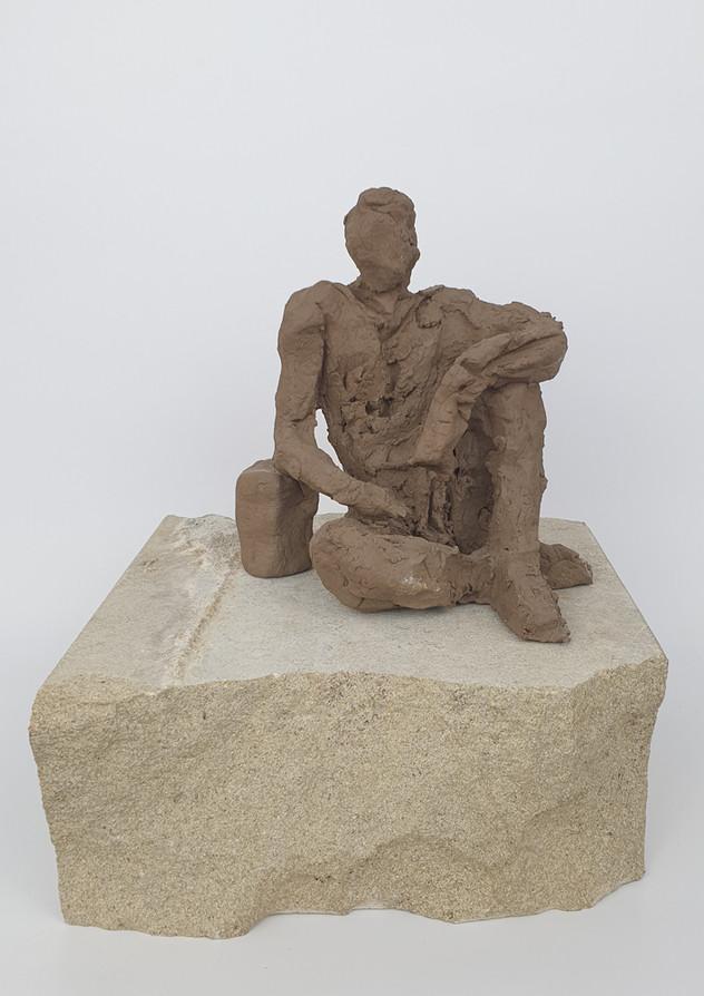 12 - 2018 - Ton und Sandstein - 18 x 21,5 x 19,5 cm