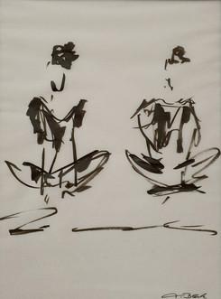 24 - 2018 - Tanz auf Papier - Pinselstift auf Transparentpapier - 29 x 39 cm