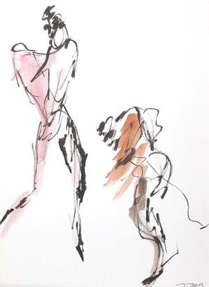 02 - 2018 - Tanz auf Papier - Mischtechnik - 29 x 38,5 cm