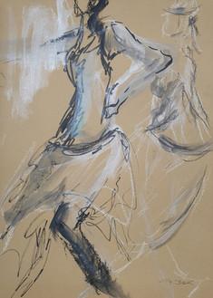 17 - 2018 - Tanz auf Papier - Mischtechnik - 29 x 39 cm