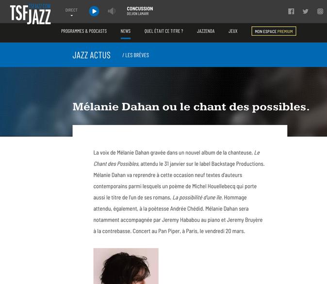 Jazz actus TSF jazz