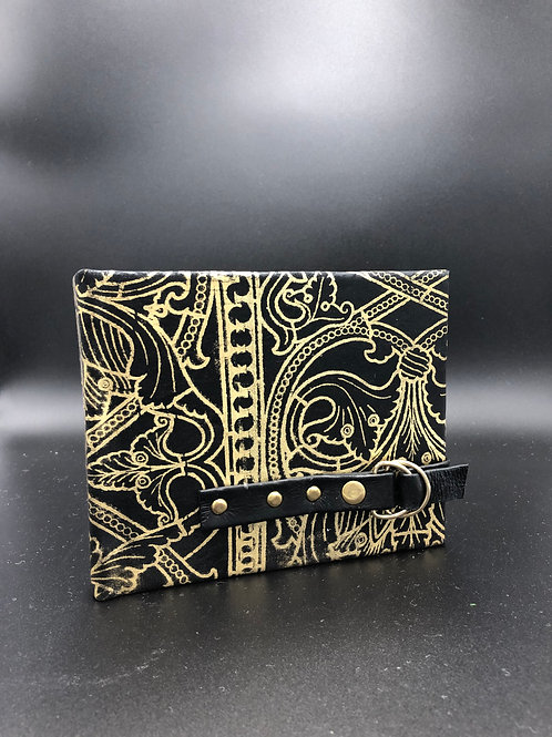 Gold Deco black leather notebook