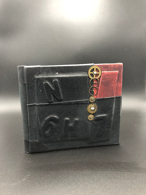 Steampunk red and black leather notebook