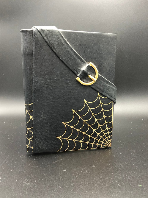 Spider web black leather notebook