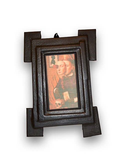 Black leather frame with Lithograph on wood