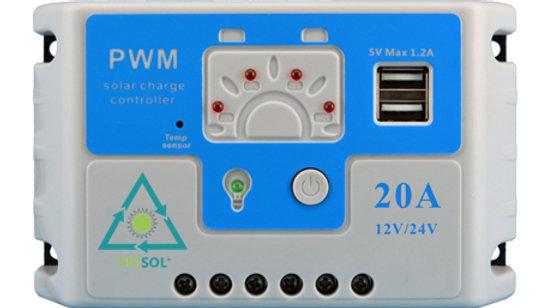 Controlador Regulador 12/24v 20A Led USB  HF220