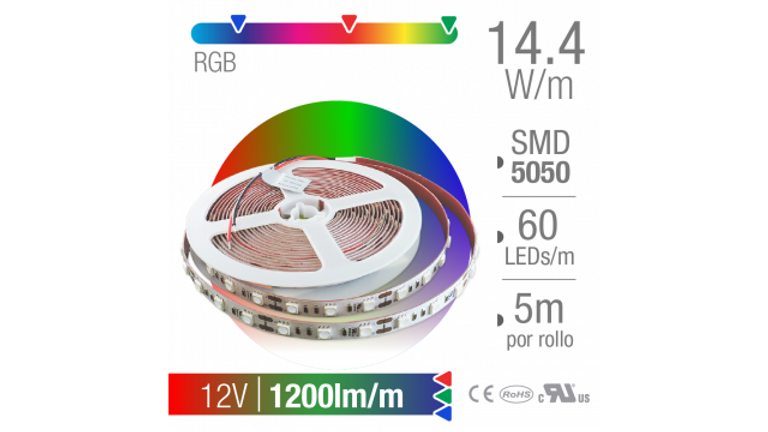 TIRA LED SMD 5050 INTERIOR RGB 60 LEDs/m 12V