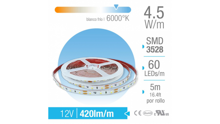 TIRA LED SMD INTERIOR BLANCO FR�O 60 LEDs/m 12V