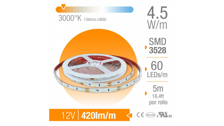 TIRA LED SMD INTERIOR BLANCO CaLIDO 60 LEDs/m 12V