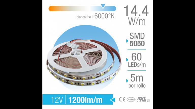 TIRA LED SMD 5050 EXTERIOR BLANCO FR�O 12V