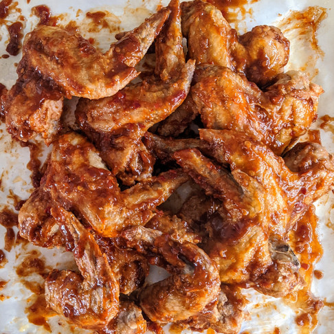 Crispy baked BBQ Sambal chicken wings