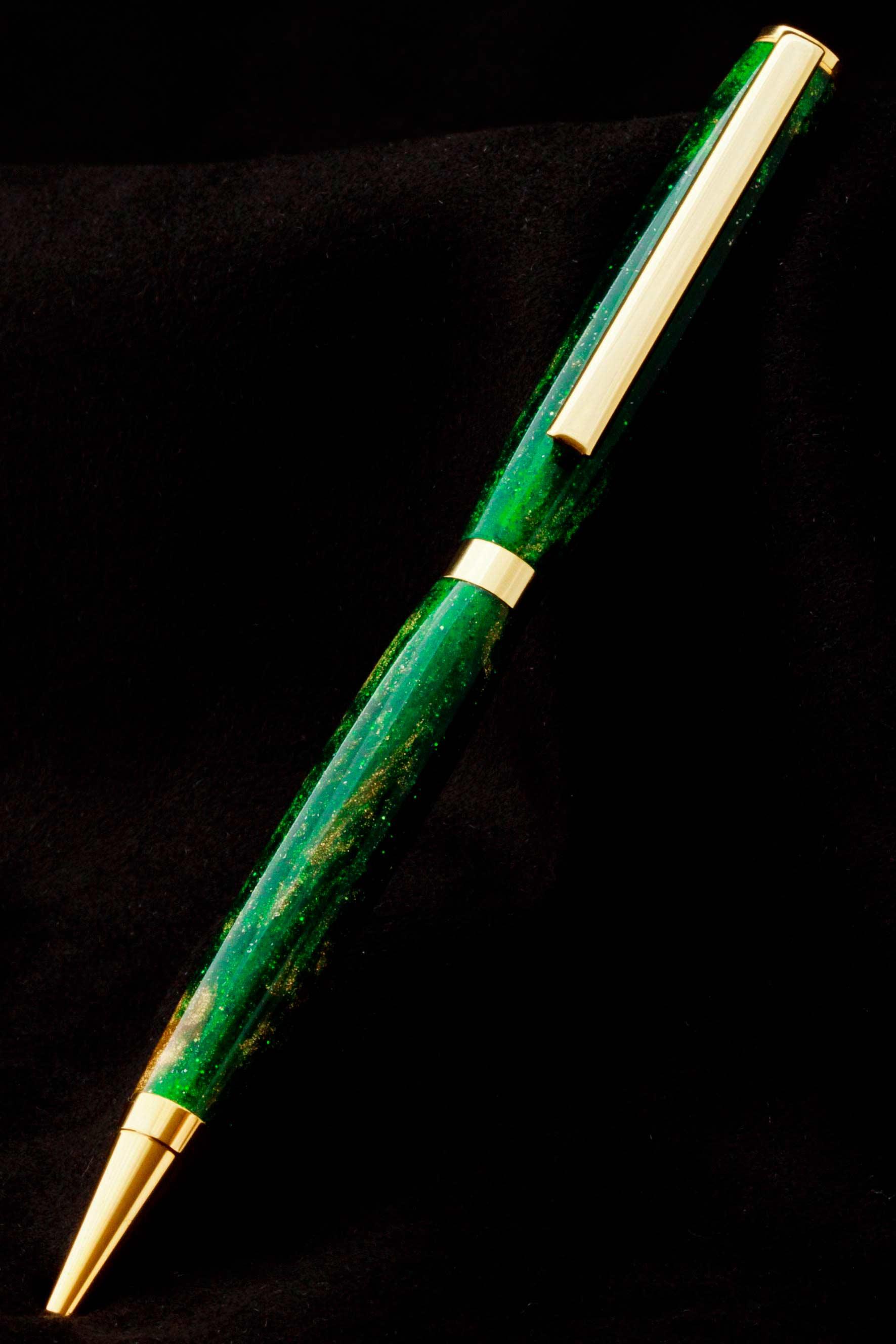 Bolígrafo acrílico verde y oro