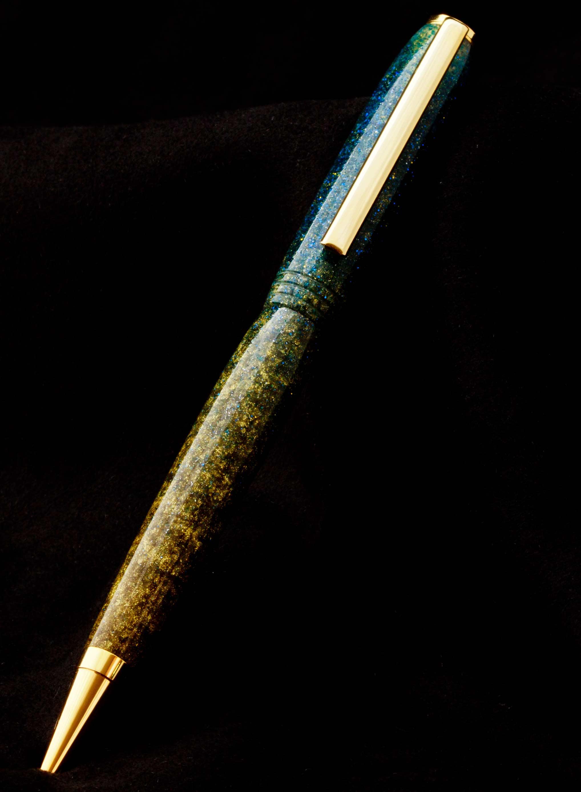 Bolígrafo acrílico azul y oro