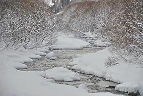 Haute Maurienne, la rivière sous la neige.