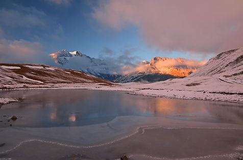 Soir d'octobre au Plan du Lac en Haute Maurienne.